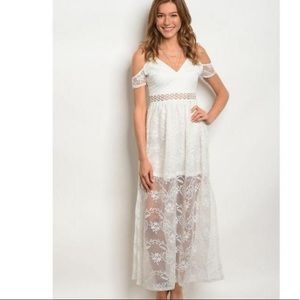 Trac White Maxi Lace High Low dress